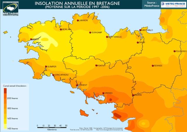 Ensoleillement annuel en Morbihan